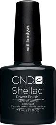 CND Shellac Overtly Onyx Тёмно-серый с перламутром и микроблеском.
