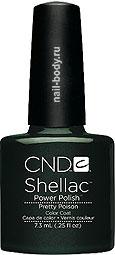 CND Shellac Pretty Poison Тёмно-зелёный с перламутром и микроблеском.